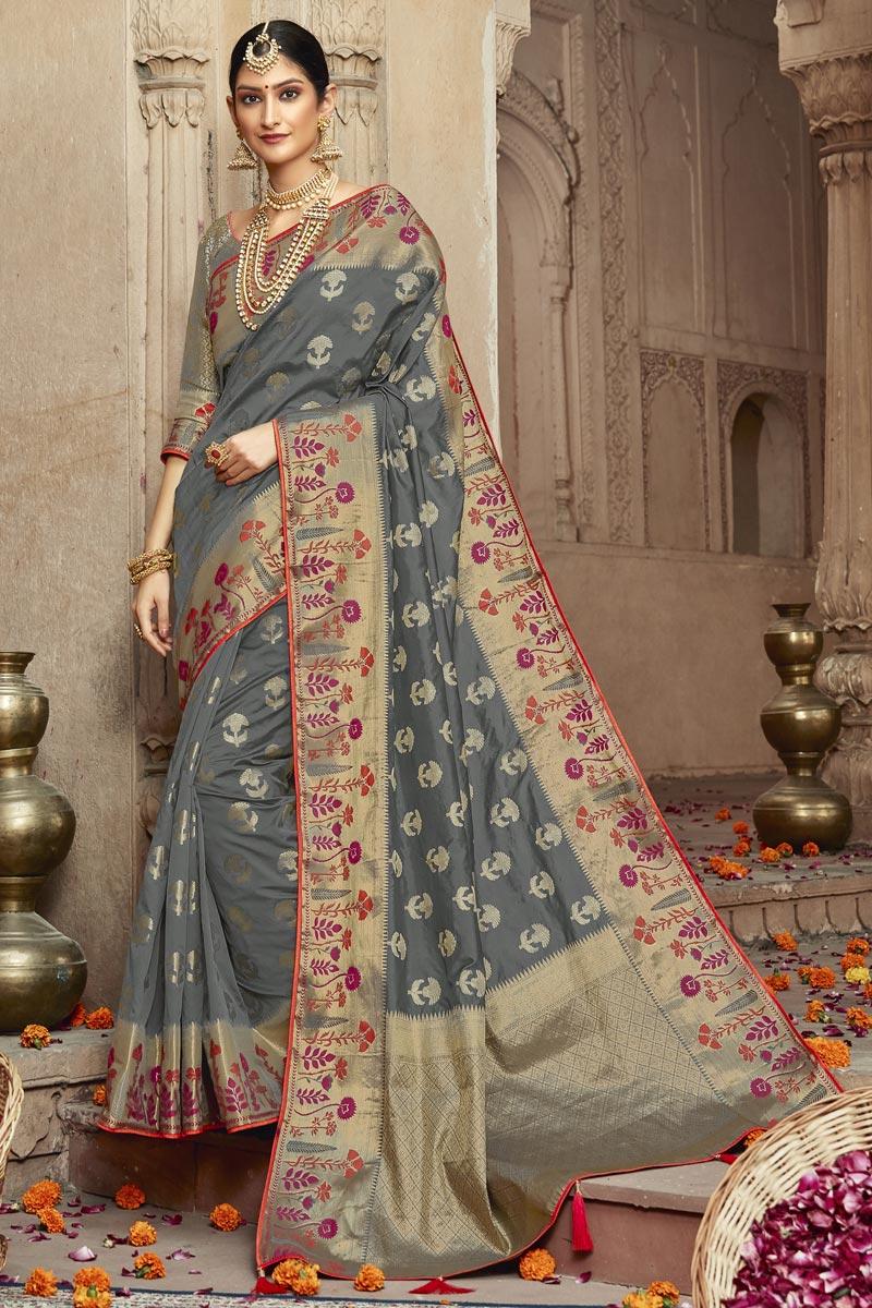Grey Trendy Art Silk Fabric Sangeet Wear Weaving Work Saree