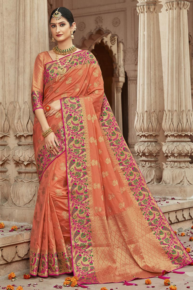 Trendy Sangeet Wear Peach Art Silk Fabric Weaving Work Saree