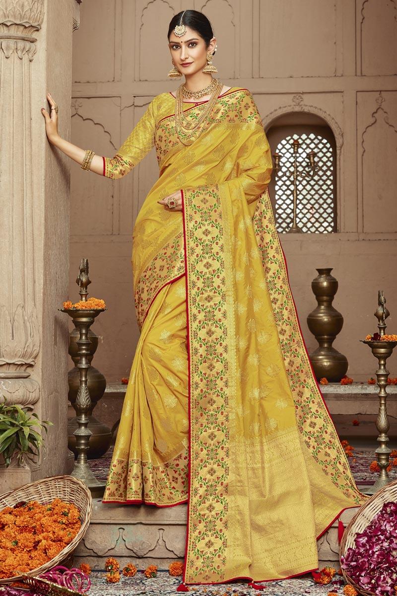 Yellow Trendy Sangeet Wear Art Silk Fabric Weaving Work Saree