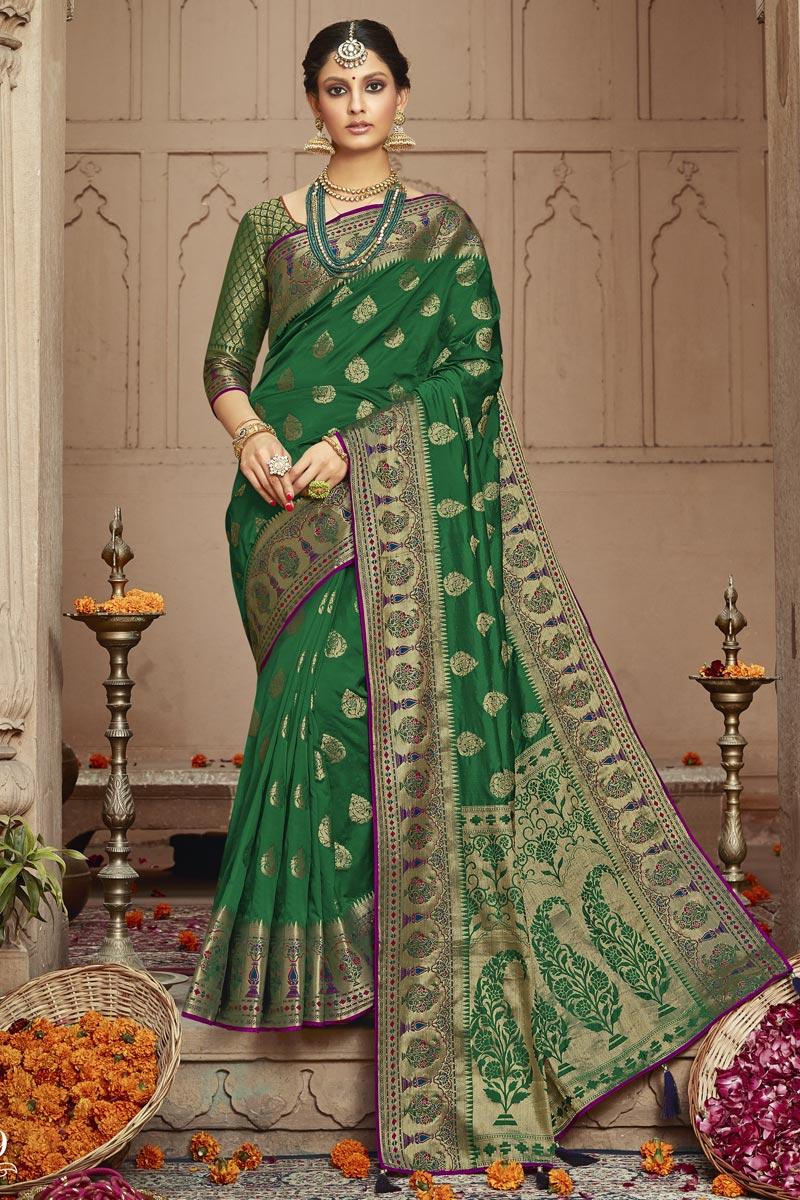 Art Silk Fabric Trendy Dark Green Sangeet Wear Weaving Work Saree