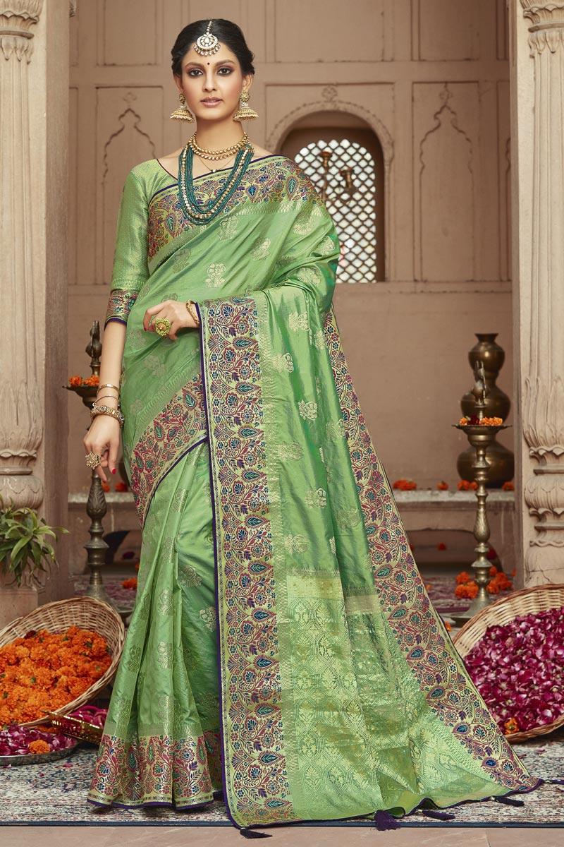 Trendy Sea Green Sangeet Wear Art Silk Fabric Weaving Work Saree