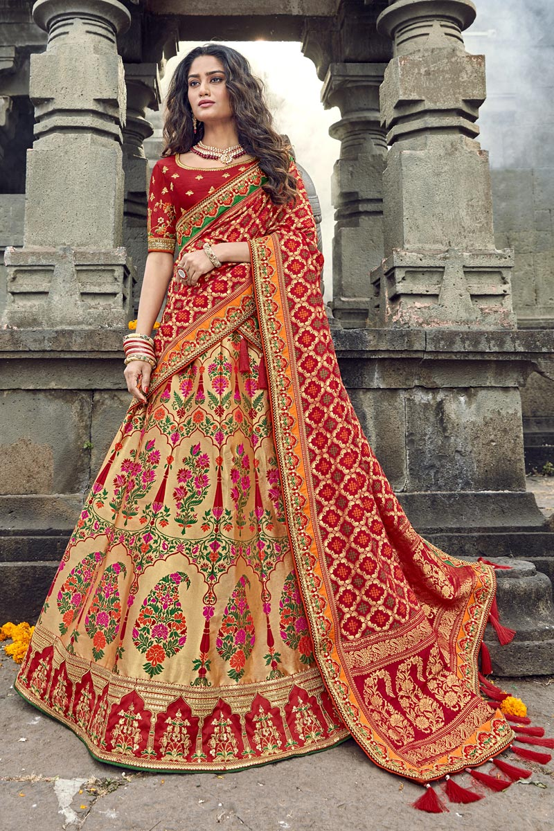 Eid Special Beige Function Wear Traditional Embroidered Lehenga In Art Silk Fabric