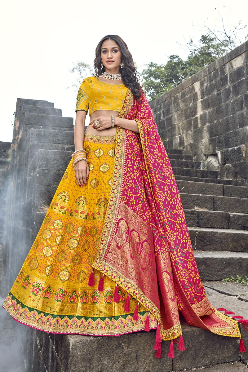 Eid Special Function Wear Yellow Art Silk Fabric Embroidered Traditional Lehenga Choli