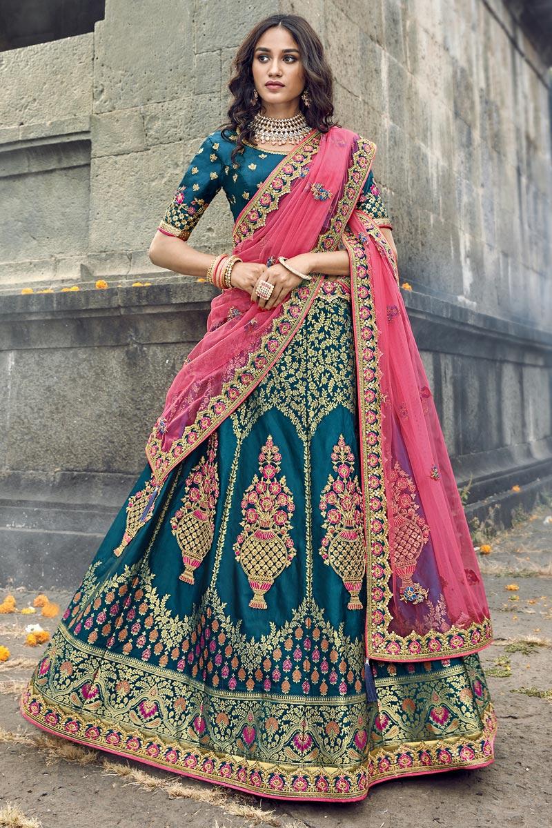 Eid Special Traditional Embroidered Art Silk Fabric Function Wear Teal Lehenga Choli