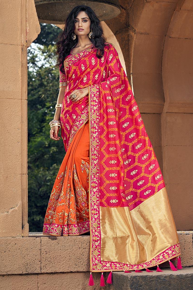 Weaving Work On Traditional Orange Art Silk Sangeet Wear Designer Half-Half Saree