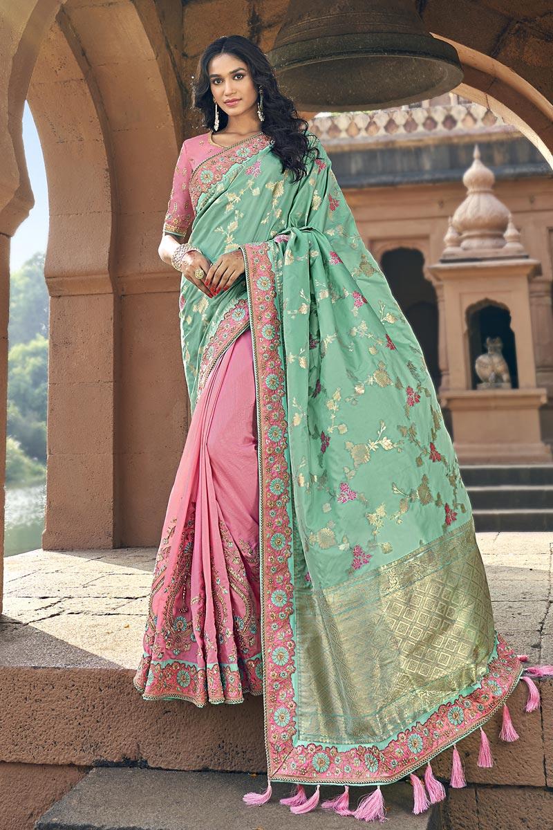 Art Silk Traditional Pink Sangeet Wear Designer Weaving Work Half N Half Saree