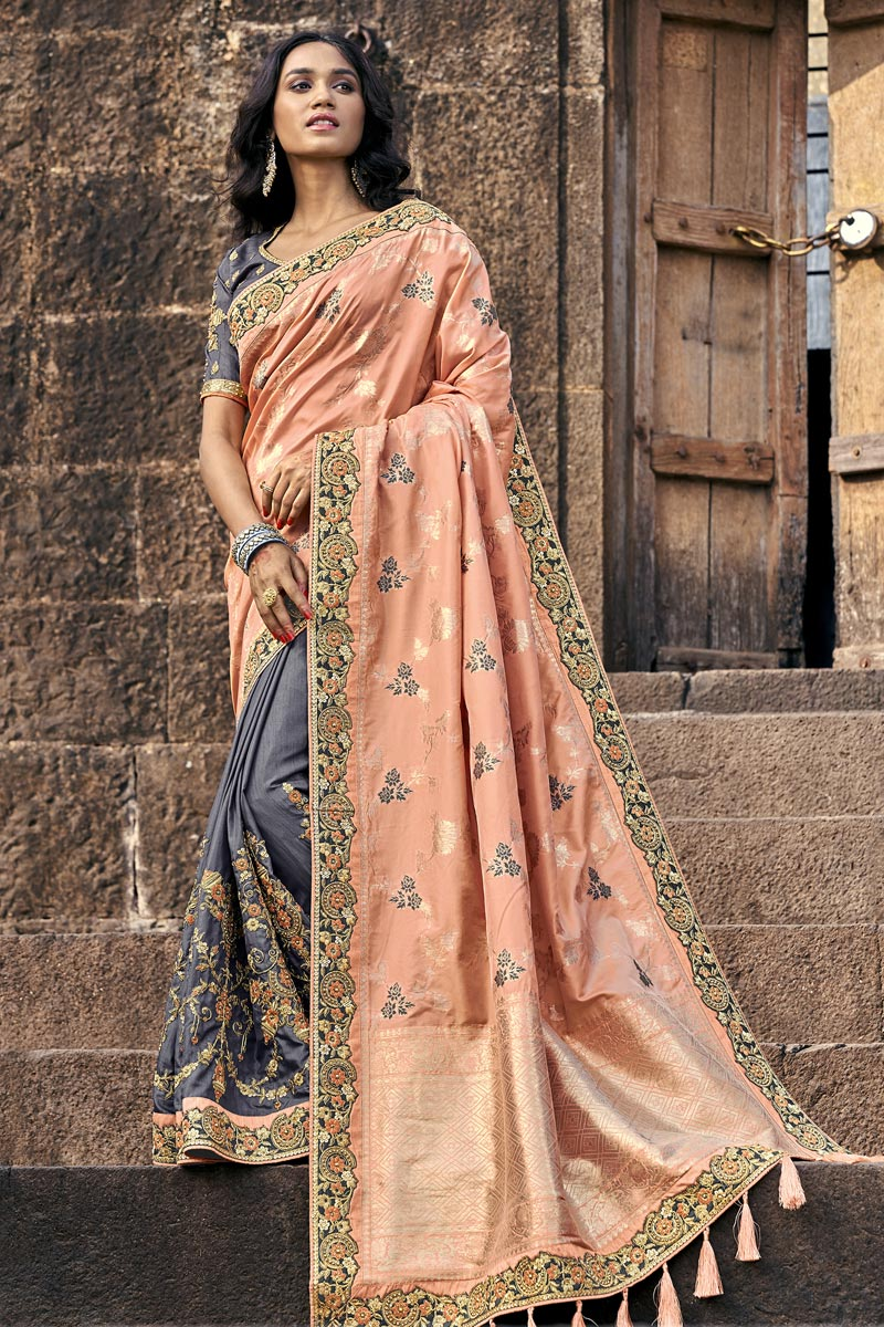 Traditional Grey Sangeet Wear Designer Weaving Work Half-Half Saree In Art Silk