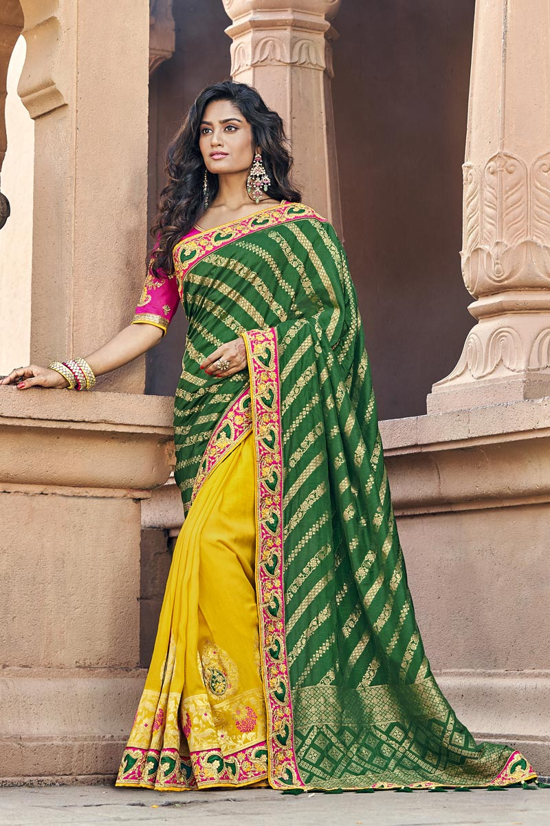 Traditional Art Silk Sangeet Wear Designer Yellow Weaving Work Half N Half Saree