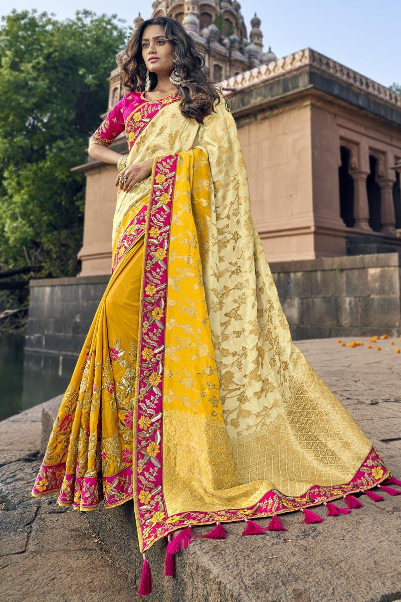 Yellow Art Silk Traditional Sangeet Wear Designer Weaving Work Half-Half Saree