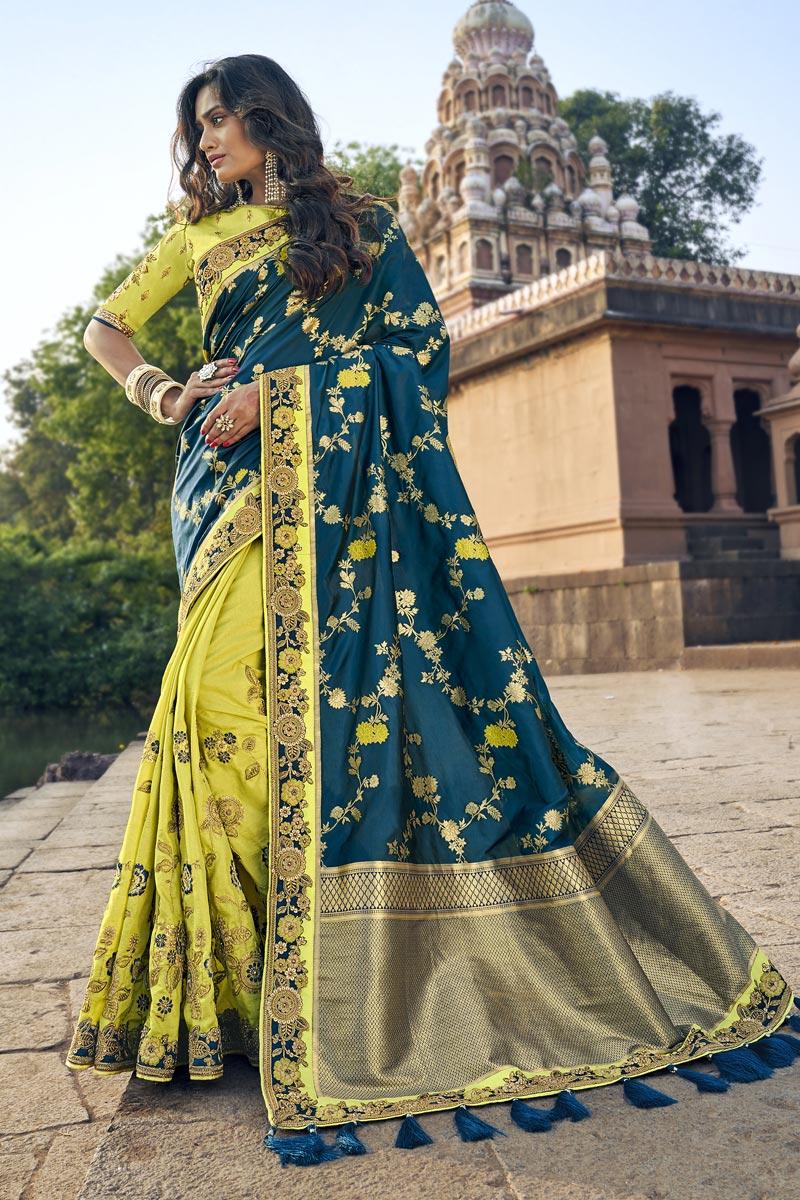 Traditional Weaving Work Sea Green Sangeet Wear Designer Half N Half Saree In Art Silk
