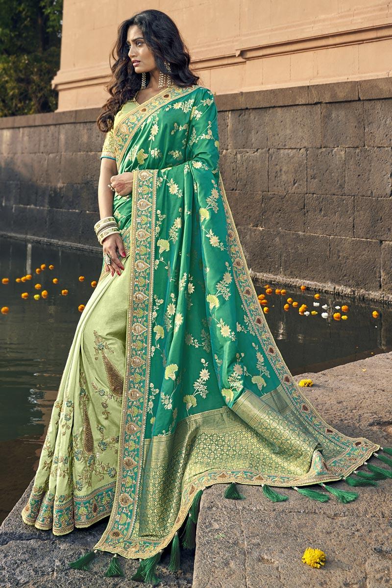 Weaving Work On Traditional Art Silk Sea Green Sangeet Wear Designer Half-Half Saree