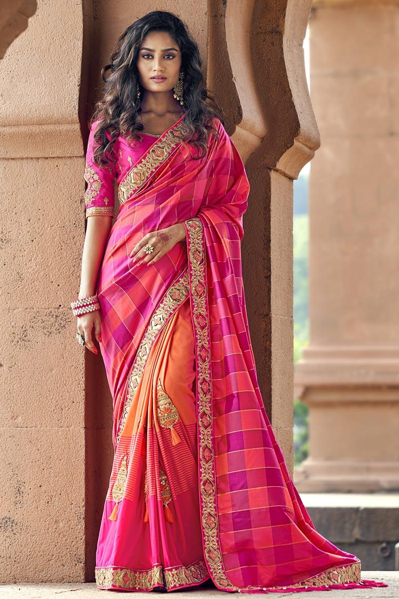 Orange Traditional Art Silk Sangeet Wear Designer Weaving Work Half N Half Saree