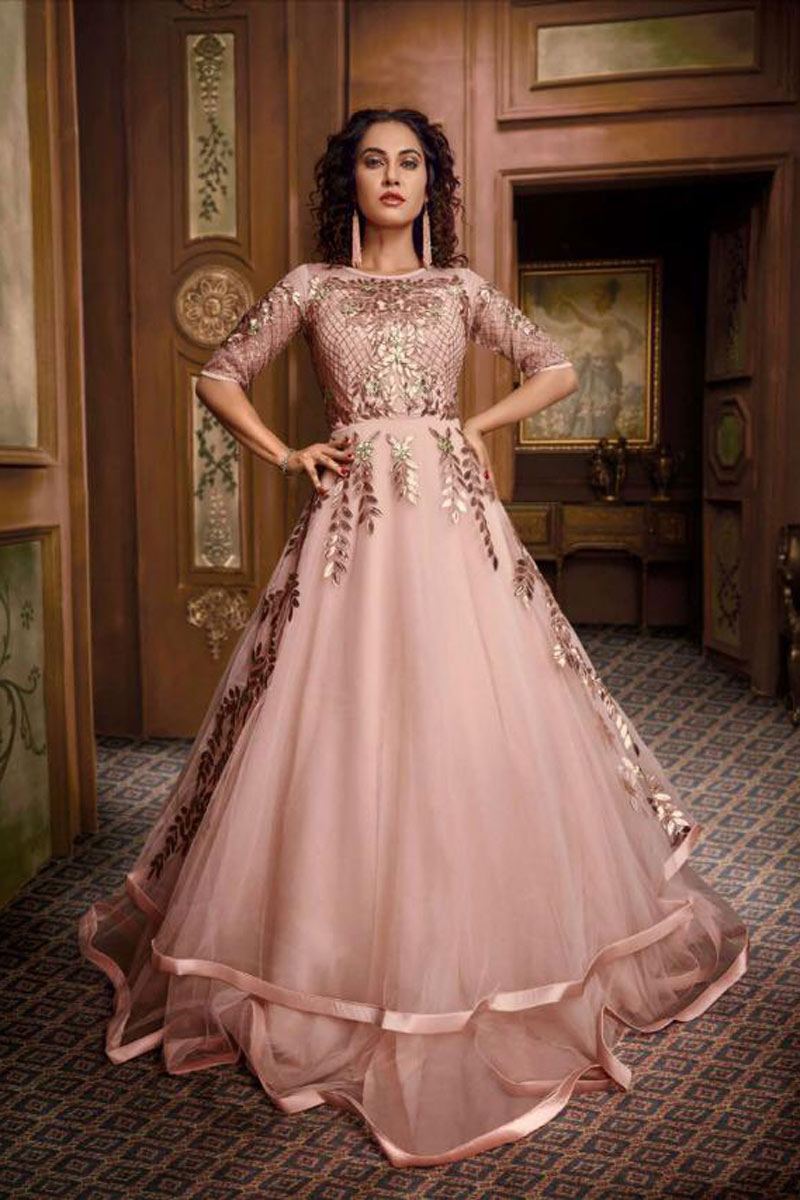 Peach Color Designer Fancy Fabric Readymade Party Wear Floor Length Gown