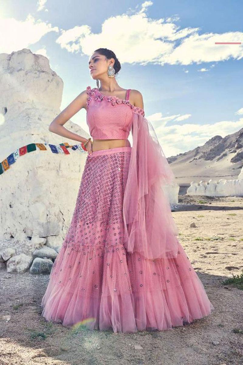 Eid Special Net Fabric Embroidery Work Designer Bridal Wear Pink Lehenga
