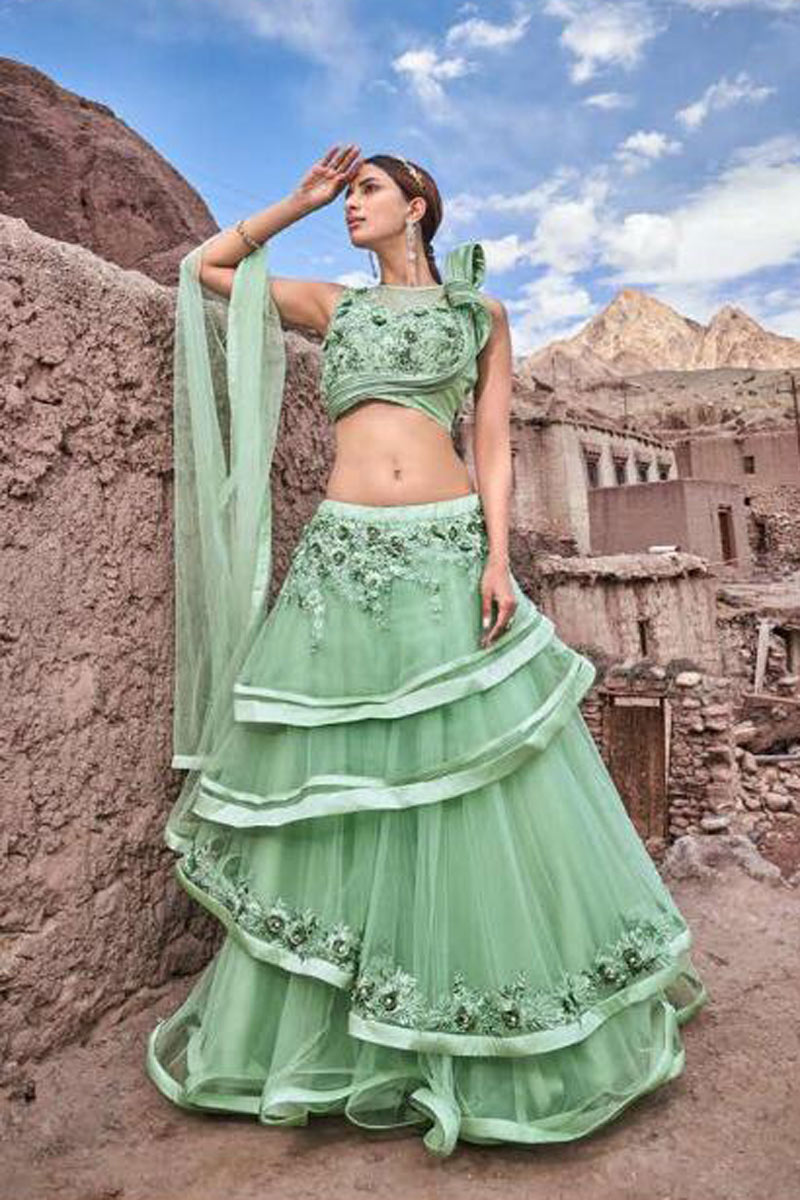Eid Special Occasion Wear Lehenga In Net Fabric Sea Green With Embroidery Work