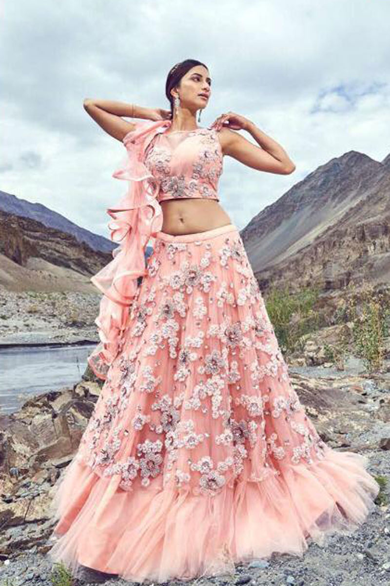 Net Fabric Designer Lehenga With Embroidery Designs And Enigmatic Blouse