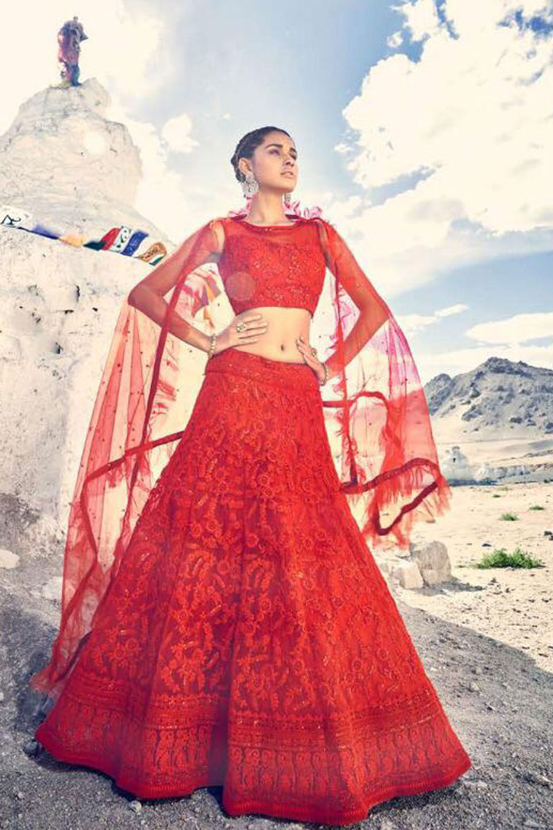 Eid Special Net Fabric Designer Embroidered Lehenga Choli In Red With Alluring Blouse