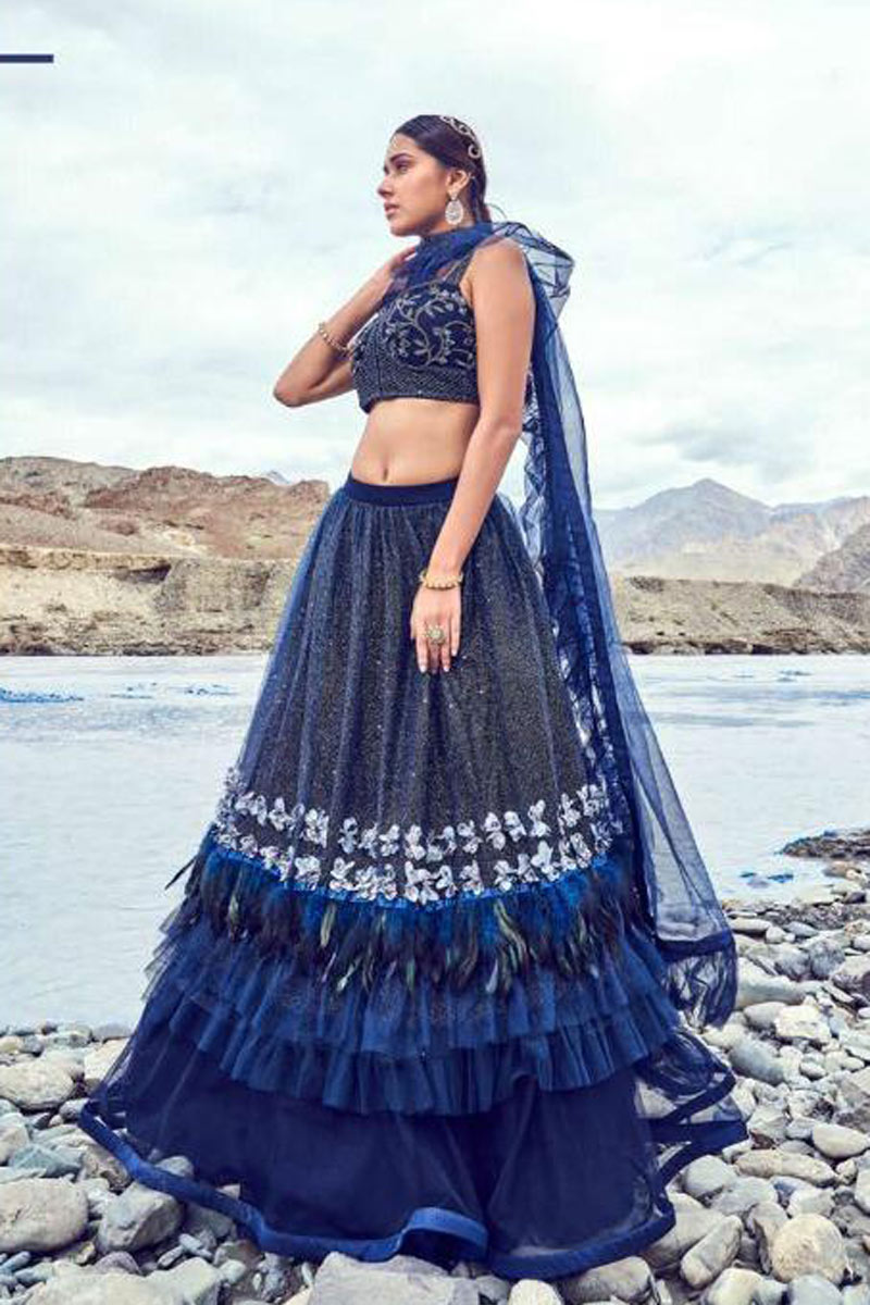 Eid Special Embroidered Navy Blue Party Wear Lehenga In Net Fabric With Ravishing Blouse