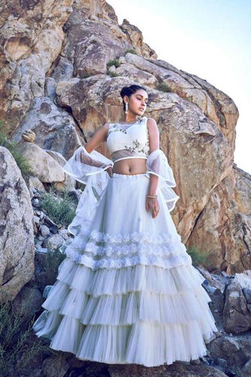 Eid Special Net Fabric Marvelously Embroidered Designer Lehenga Choli In White
