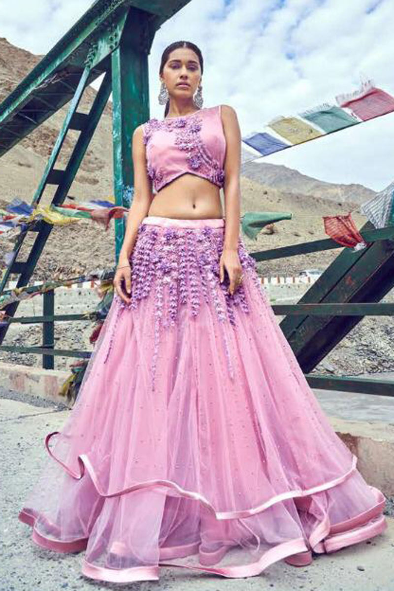 Eid Special Beguiling Pink Net Fabric Designer Lehenga With Embroidery