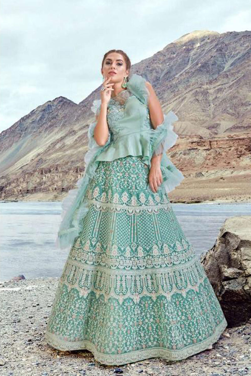 Soothing Net Fabric Light Cyan Embroidered Designer Lehenga Choli