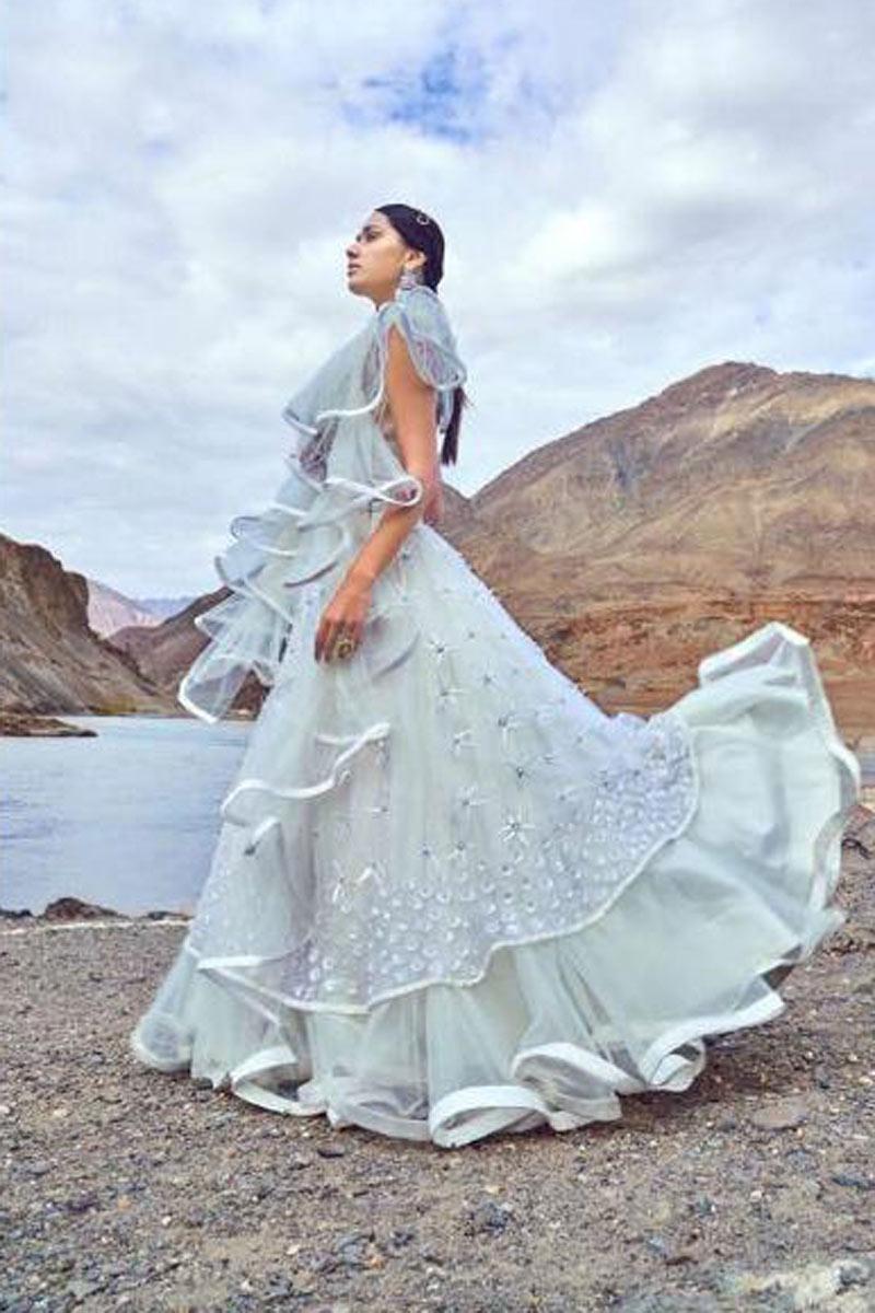 Charming Net Fabric Off White Designer Embroidered Lehenga