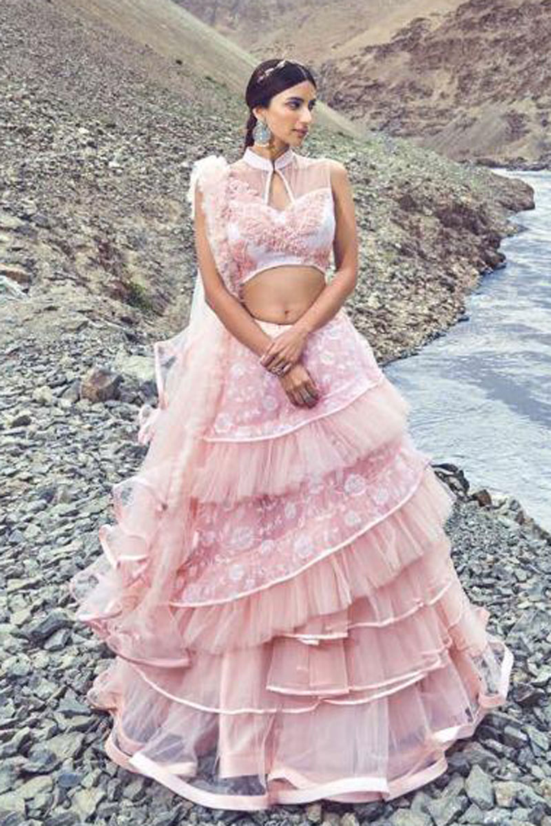 Soothing Pink Designer 3 Piece Lehenga In Net Fabric With Beautiful Embroidery Work