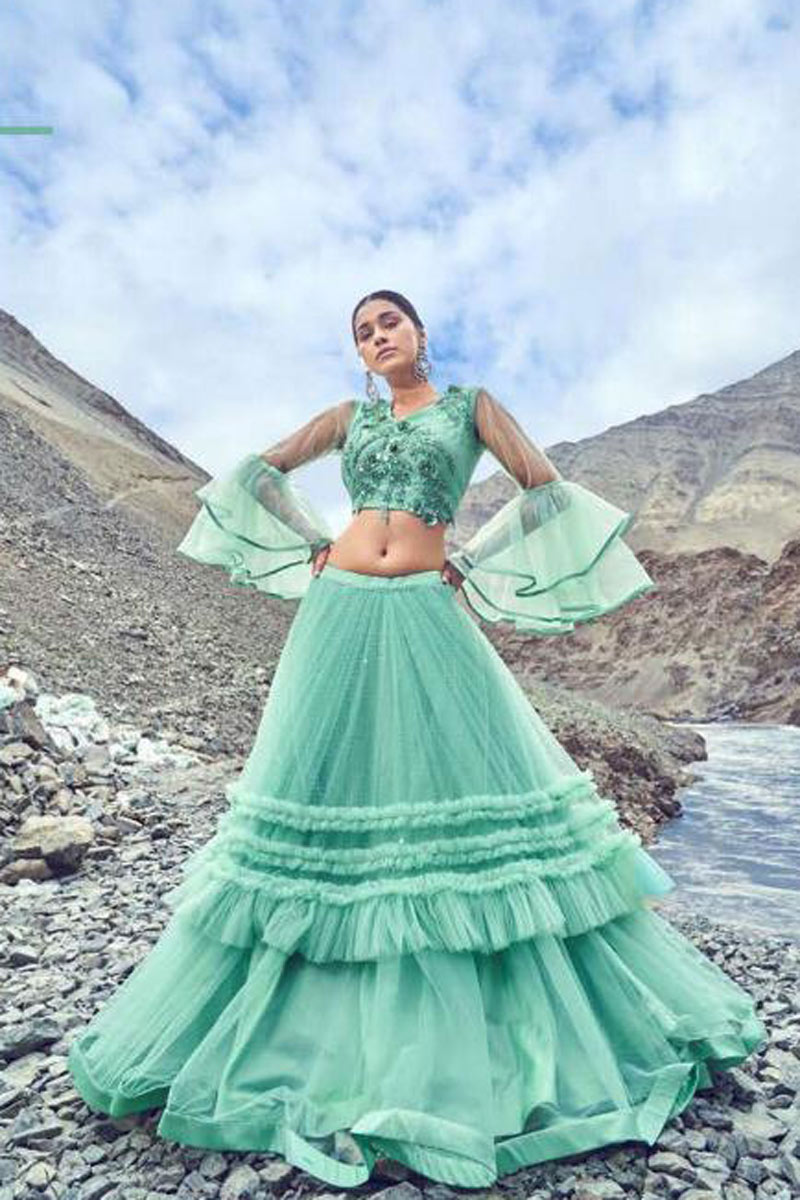 Eid Special Light Turquoise Net Fabric Wedding Wear 3 Piece Lehenga Choli With Embroidery Work