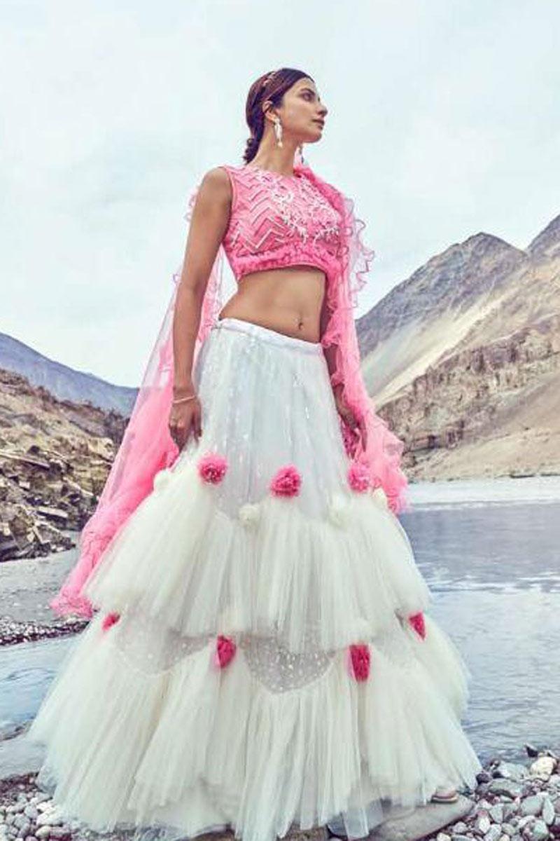 Bridal Wear Net Fabric Fancy White Designer Embroidered Lehenga Choli