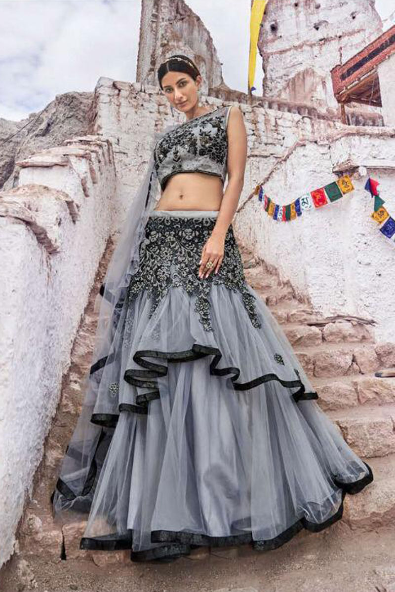 Eid Special Fancy Grey Bridal Wear Designer Net Fabric Lehenga With Embroidery Design