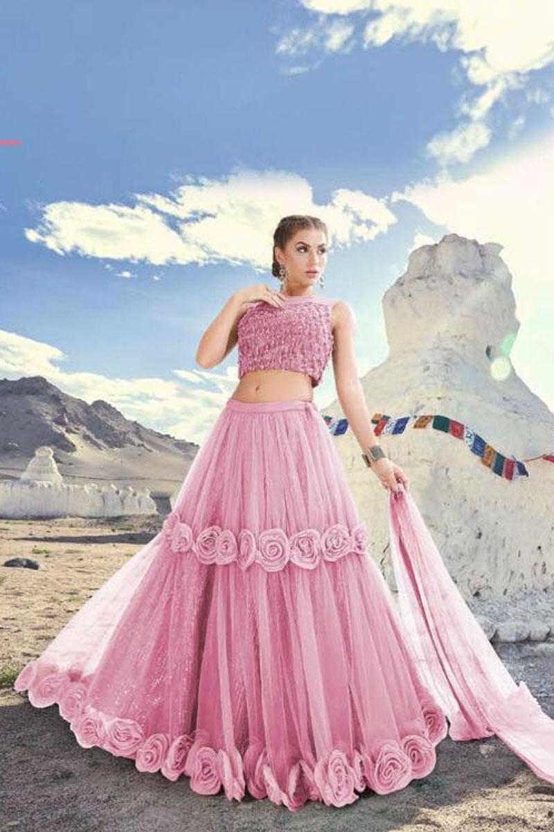 Designer Net Fabric Bridal Wear Embroidered Fancy Pink Lehenga Choli