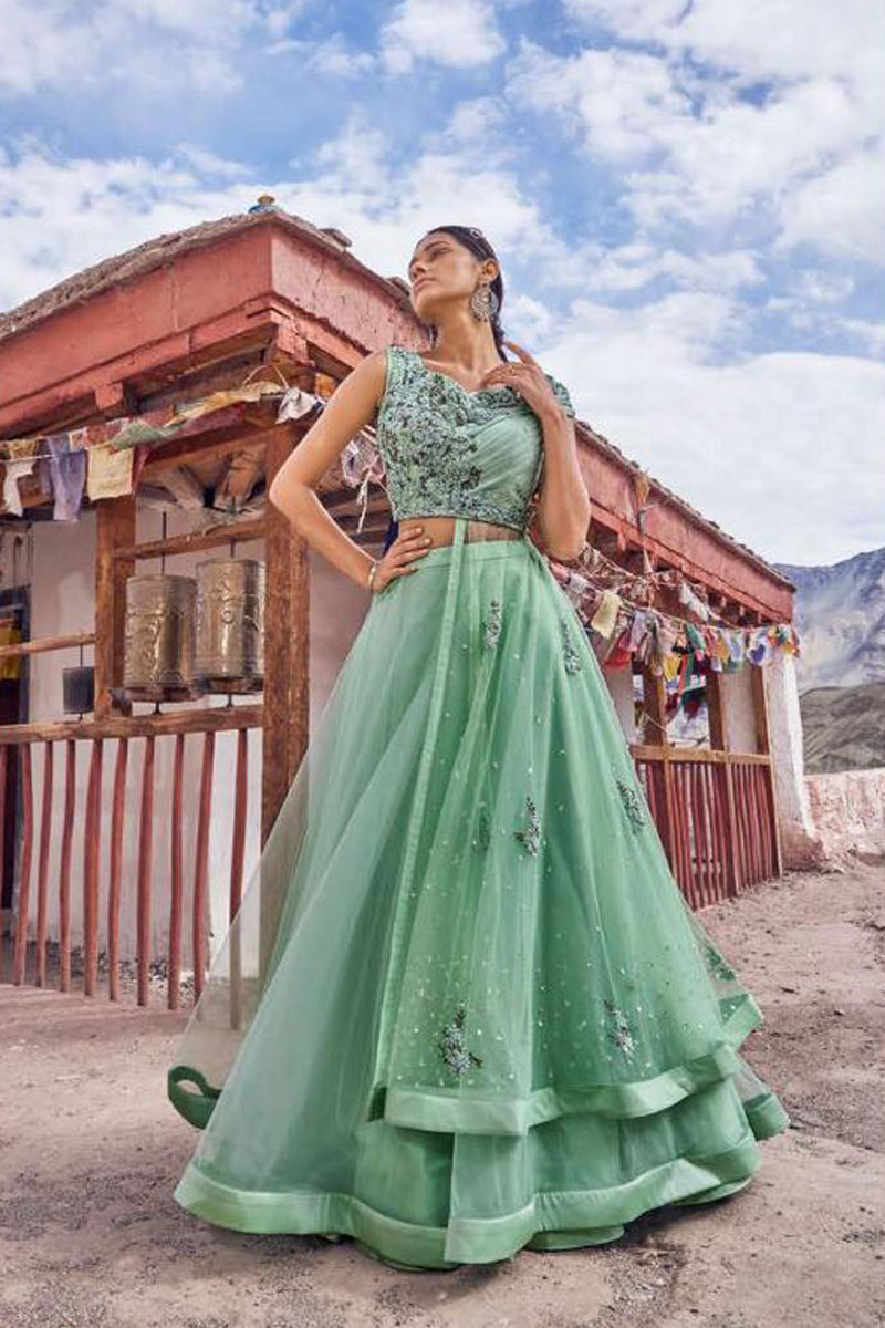 Venerable Net Fabric Embroidered Bridal Wear Designer Fancy Sea Green Lehenga Choli