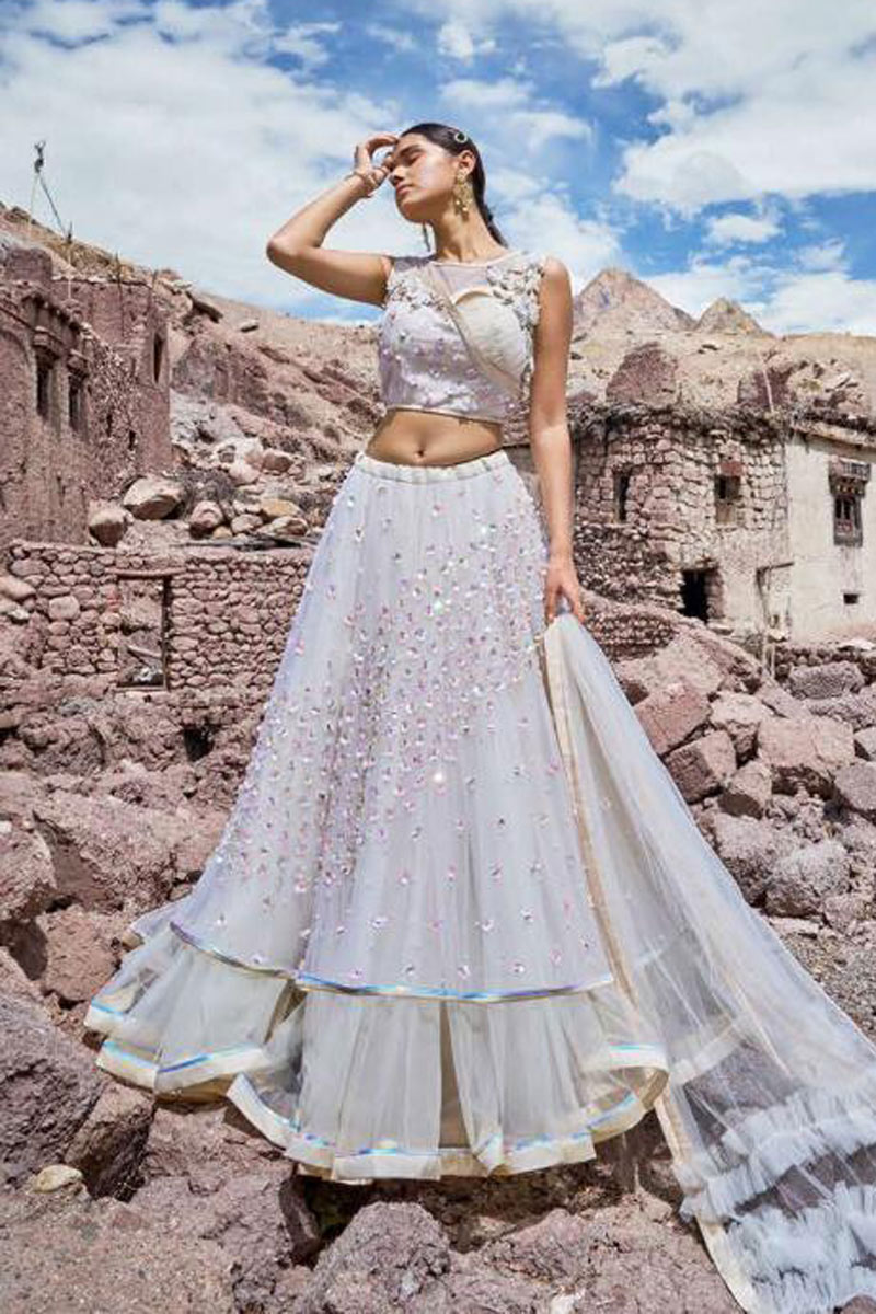 Eid Special Embroidered Wedding Wear Lehenga Choli In Net Fabric Off White