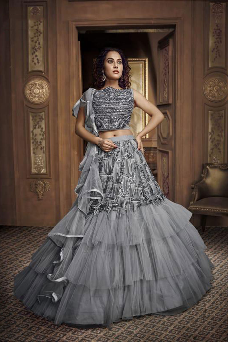 Eid Special Hand Work On Wedding Wear Bridal Lehenga In Fancy Fabric Grey With Blouse
