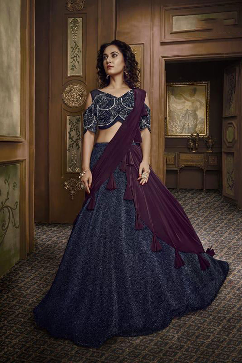 Eid Special Hand Work On Navy Blue Designer Lehenga In Fancy Fabric With Blouse