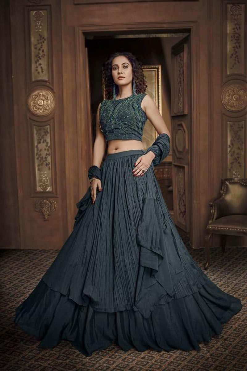 Occasion Wear Lehenga In Fancy Fabric Black With Hand Work