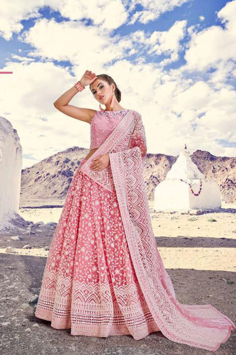 Eid Special Embroidery Work On Wedding Wear Bridal Lehenga In Net Fabric Pink With Blouse