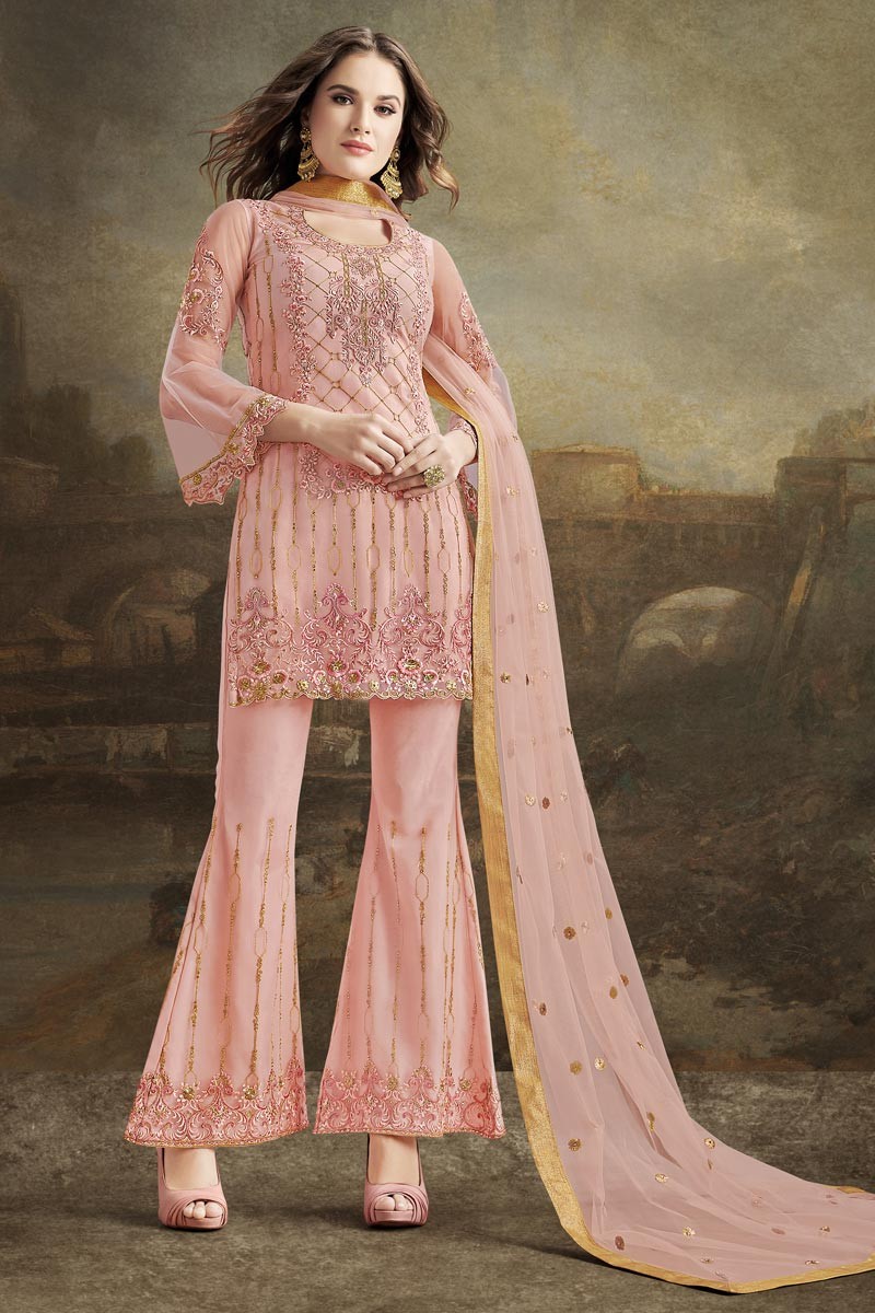 Fancy Pink Festive Wear Embroidered Net Fabric Sharara Suit