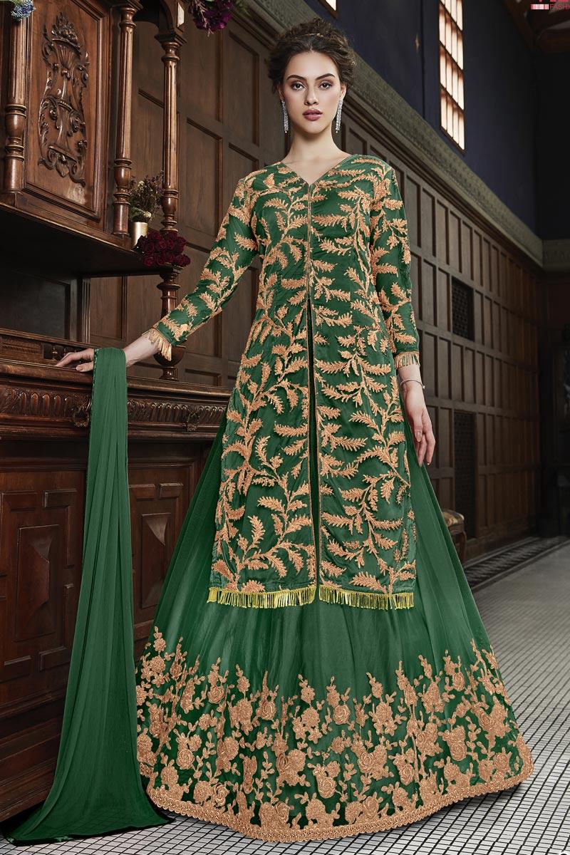 Function Wear Designer Net Fabric Embroidered Green Anarkali Dress