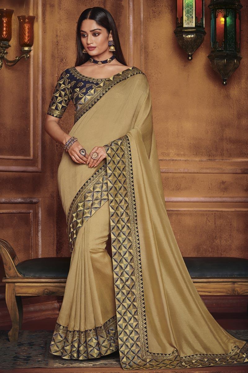 Traditional Wear Fancy Fabric Designer Beige Border Work Saree