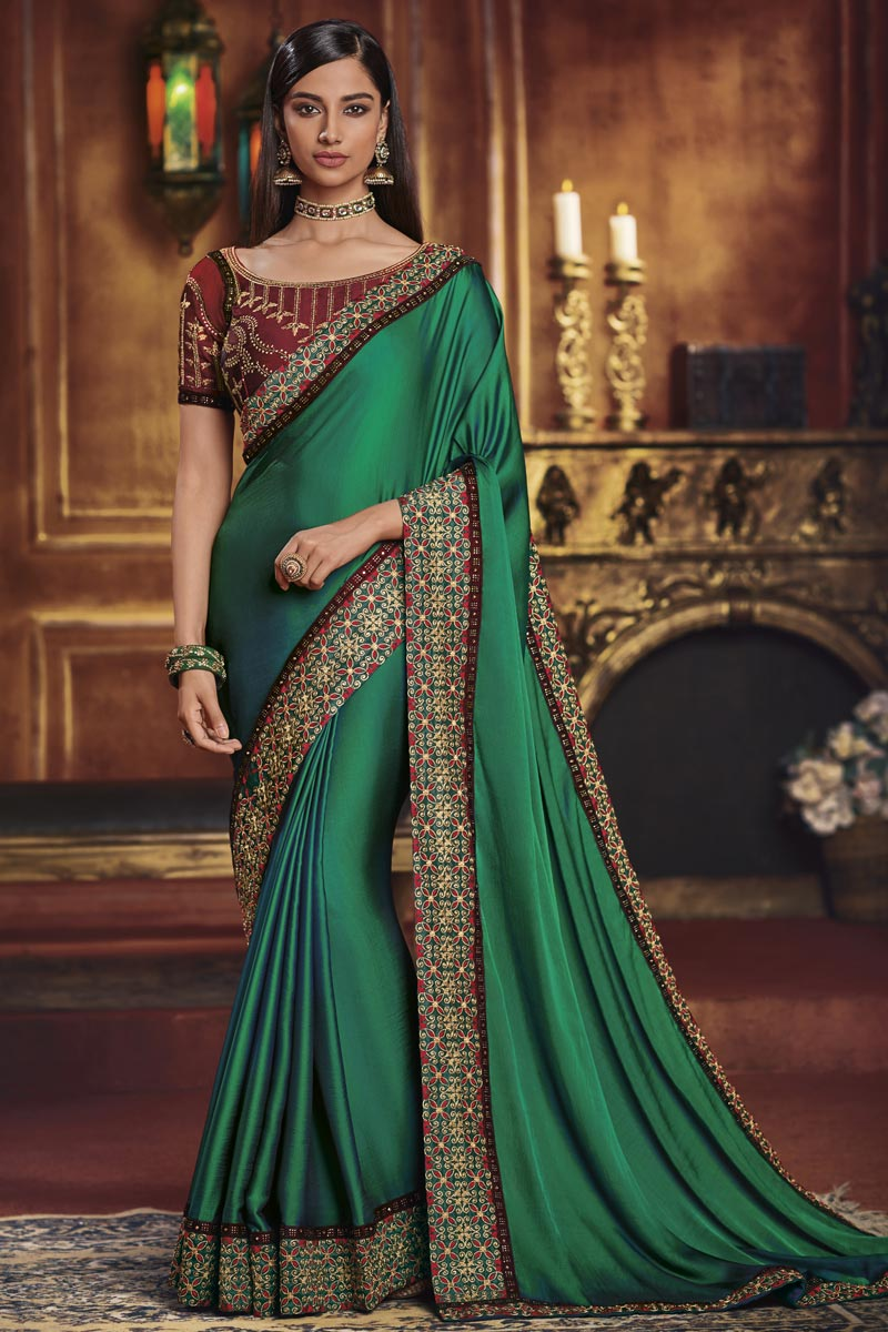 Fancy Fabric Traditional Wear Designer Border Work Saree In Green