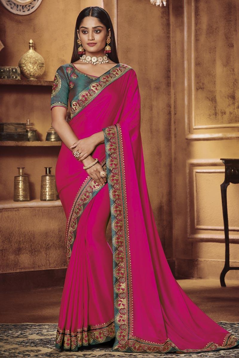 Fancy Fabric Traditional Wear Magenta Color Designer Border Work Saree
