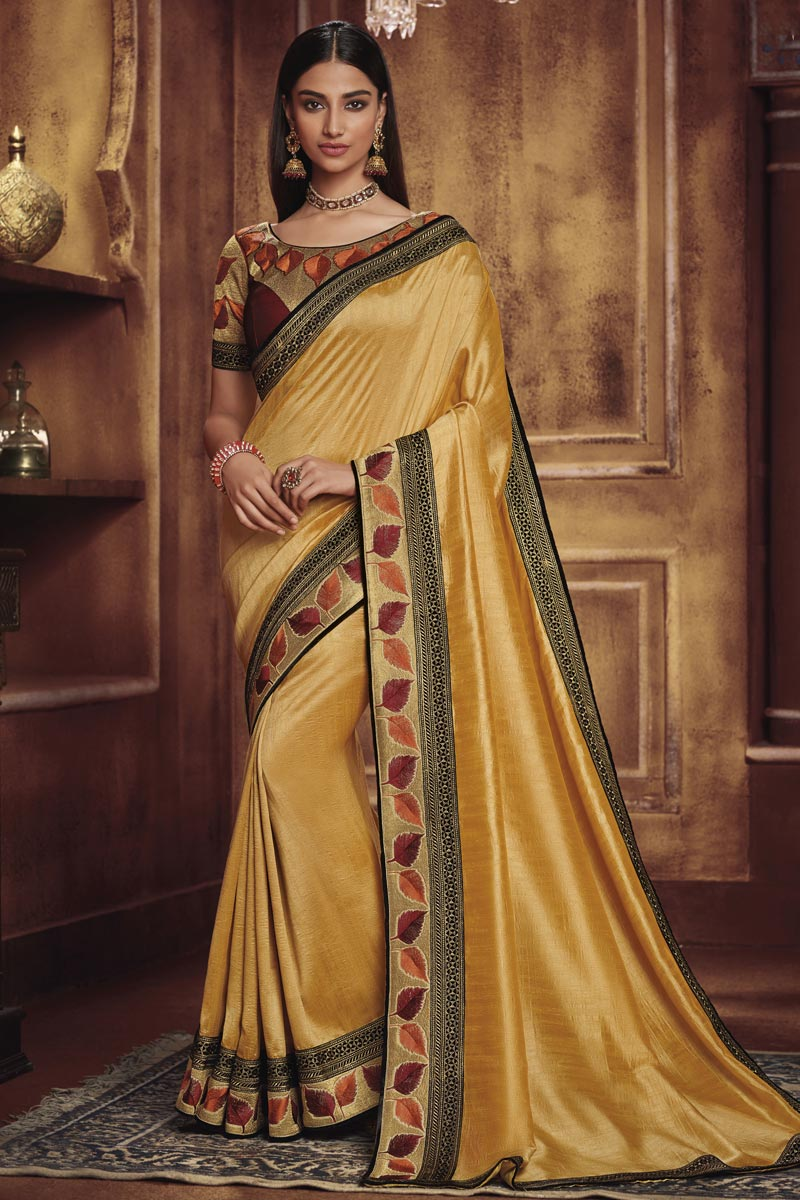 Traditional Wear Fancy Fabric Designer Border Work Saree In Yellow