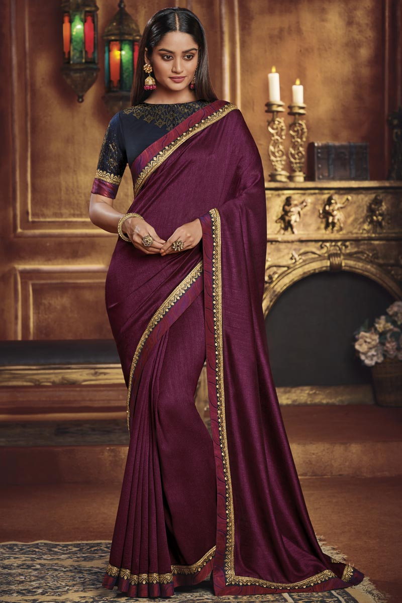 Fancy Fabric Traditional Wear Wine Color Designer Border Work Saree
