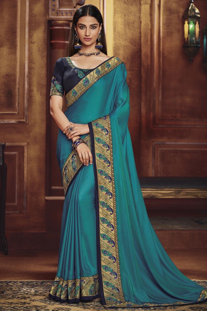 Cyan Traditional Wear Fancy Fabric Designer Border Work Saree