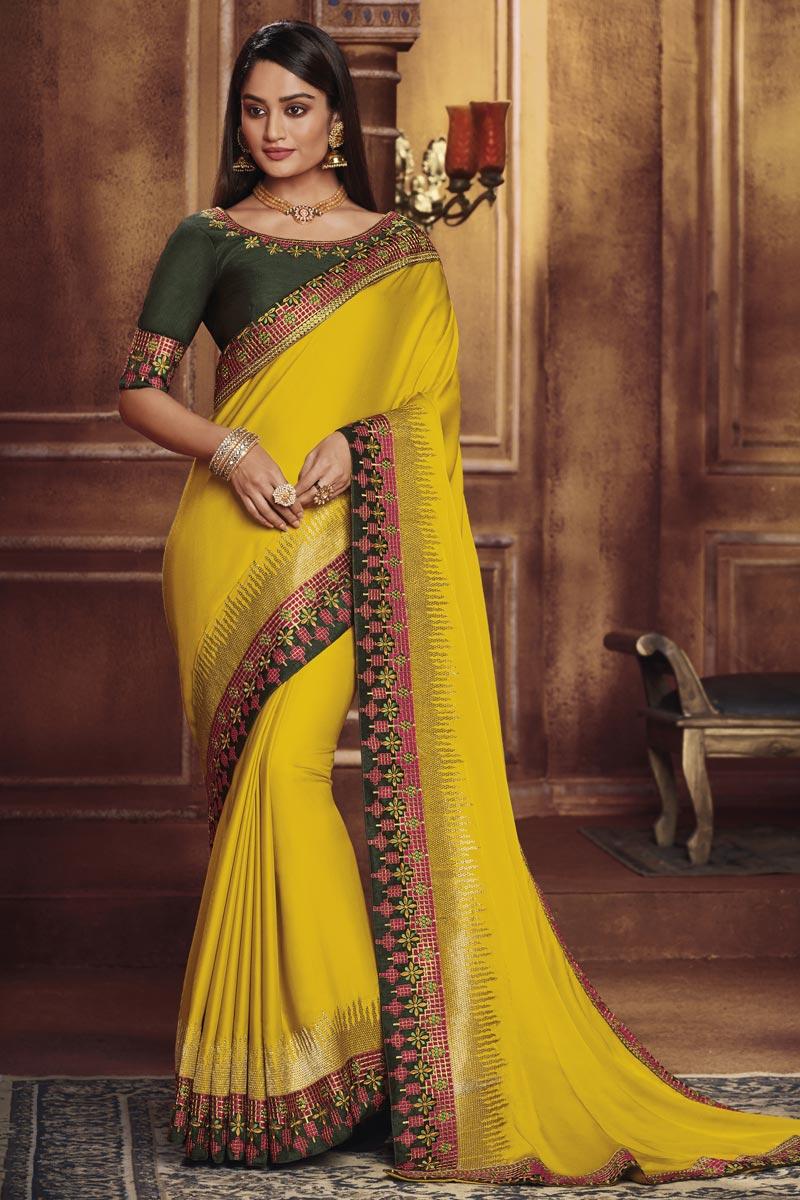 Traditional Wear Yellow Designer Fancy Fabric Border Work Saree