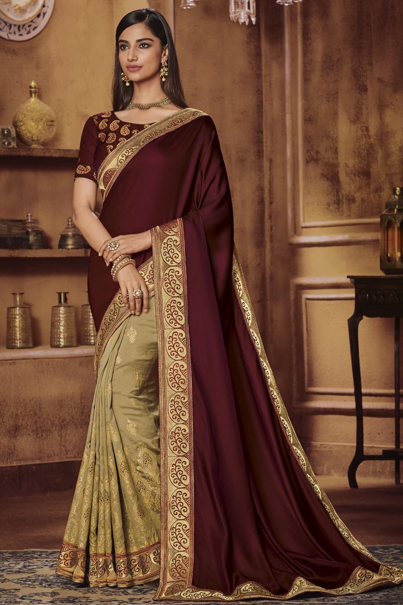 Beige Traditional Wear Designer Border Work Saree In Fancy Fabric