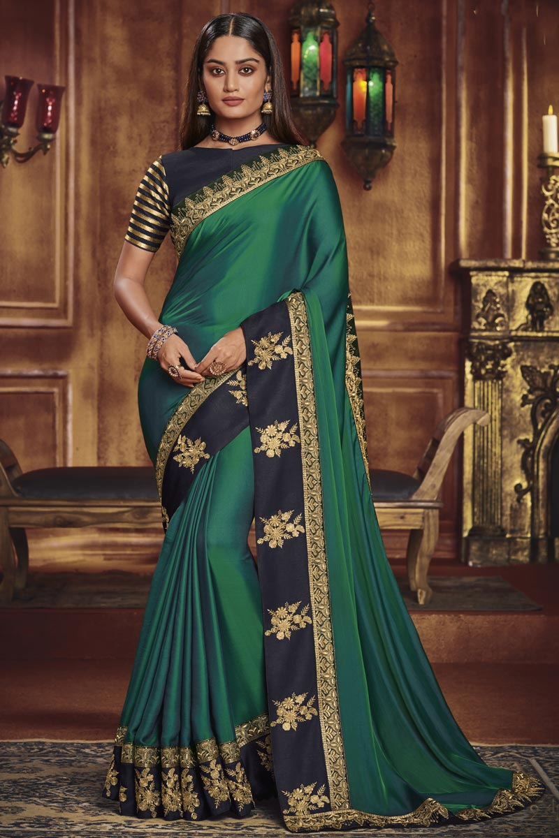 Teal Party Style Fancy Fabric Designer Border Work Saree