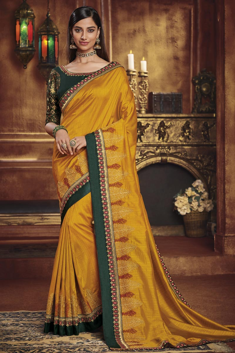 Fancy Fabric Party Style Designer Border Work Saree In Mustard