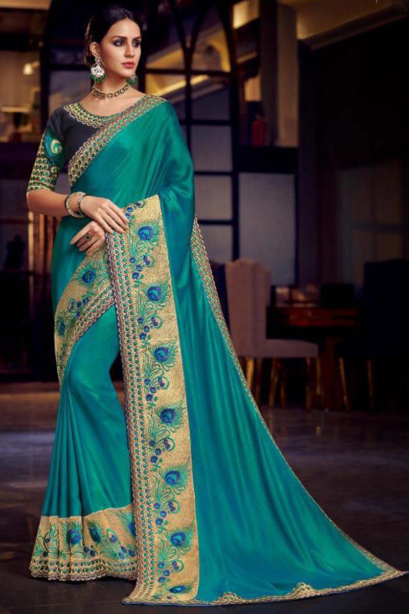 Sangeet Wear Designer Cyan Embroidered Saree In Fancy Fabric